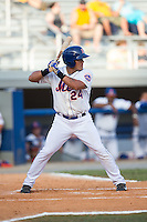 Luis Ortega (24) of the Kingsport Mets at bat against the Elizabethton Twins at Hunter Wright Stadium on July 9, 2015 in Kingsport, Tennessee.  The Twins defeated the Mets 9-7 in 11 innings. (Brian Westerholt/Four Seam Images)