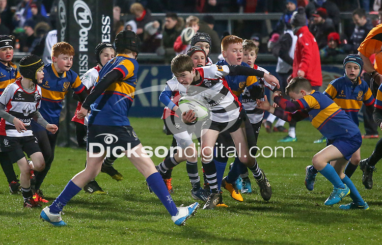 Friday 9th February 2018   Ulster Rugby vs Southern Kings<br /> <br /> Halftime Mini Rugby during the Guinness PRO14 clash between Ulster Rugby and the Southern Kings at Kingspan Stadium, Ravenhill Park, Belfast, Northern Ireland. Photo by John Dickson / DICKSONDIGITAL