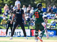 23rd March 2021; Christchurch, New Zealand;  Kyle Jamieson of the Black Caps appeals for the wicket of Tamim Iqbal of Bangladesh during the 2nd ODI cricket match, Black Caps versus Bangladesh, Hagley Oval, Christchurch, New Zealand.