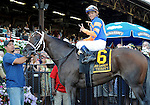 Stay Thirsty (no. 6), ridden by Javier Castellano and trained by Todd Pletcher, wins the 48th running of the grade 2 Jim Dandy Stakes for three year olds on July 30, 2011 at Saratoga Race Track in Saratoga Springs, New York.  (Bob Mayberger/Eclipse Sportswire)