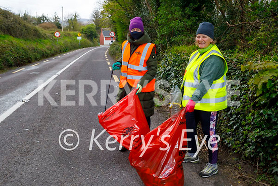 Camp Community volunteers doing their voluntary clean up on Saturday morning. L to r : Katrina Mehigan and Marcella Finn