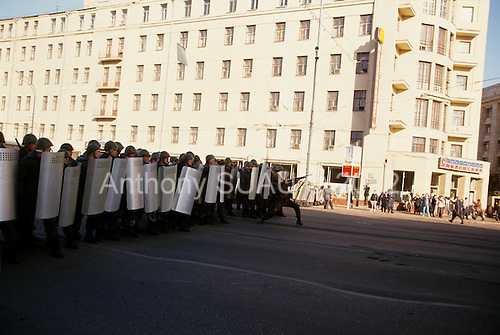 Moscow, Russia.October 3, 1993..Anti-Yeltsin communist demonstrators overtake the police street by street as they fight their way to the Parliament building with both sides taking casualties.