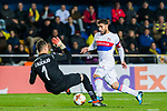 Nabil Fekir (R) of Olympique Lyon fights for the ball with goalkeeper Sergio Asenjo Andres of Villarreal CF during the UEFA Europa League 2017-18 Round of 32 (2nd leg) match between Villarreal CF and Olympique Lyon at Estadio de la Ceramica on February 22 2018 in Villarreal, Spain. Photo by Maria Jose Segovia Carmona / Power Sport Images