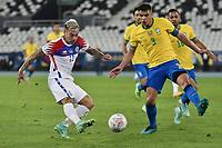2nd July 2021; Nilton Santos Stadium, Rio de Janeiro, Brazil; Copa America, Brazil versus Chile; Thiago Silva of Brazil tries to block the shot from Eduardo Vargas of Chile