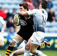 Photo: Richard Lane/Richard Lane Photography. Wasps v Cardiff Blues. LV= Cup. 01/02/2015. Wasps' Guy Thompson powers in for a try.