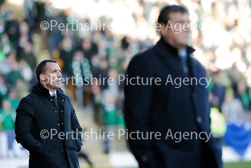 St Johnstone v Celtic…04.11.17…  McDiarmid Park…  SPFL<br />Brendon Rodgers on the touchline<br />Picture by Graeme Hart. <br />Copyright Perthshire Picture Agency<br />Tel: 01738 623350  Mobile: 07990 594431
