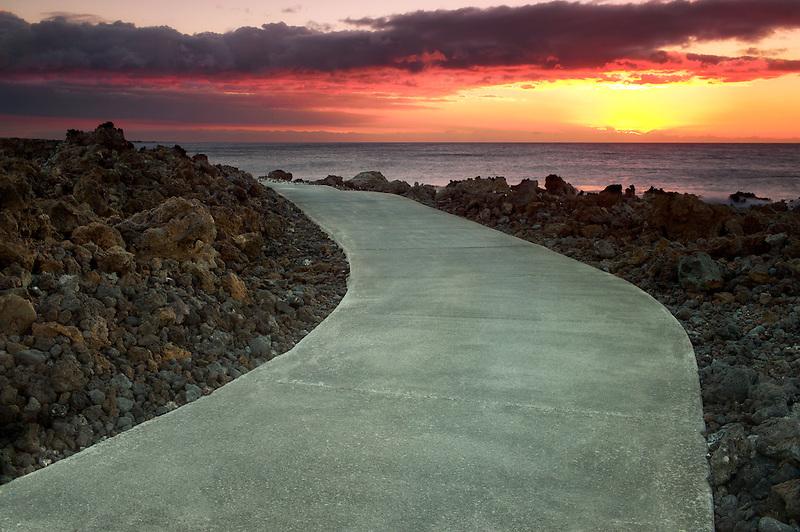 Path and ocean. The Kohala Coast, Hawaii, The Big Island.