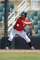 Justin Yurchak (33) of the Kannapolis Intimidators takes a pitch during the game against the Greensboro Grasshoppers at Kannapolis Intimidators Stadium on August 5, 2018 in Kannapolis, North Carolina. The Grasshoppers defeated the Intimidators 2-1 in game one of a double-header.  (Brian Westerholt/Four Seam Images)