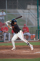 AZL Giants Black catcher Angel Guzman (16) at bat during an Arizona League game against the AZL Angels at the San Francisco Giants Training Complex on July 1, 2018 in Scottsdale, Arizona. The AZL Giants Black defeated the AZL Angels by a score of 4-2. (Zachary Lucy/Four Seam Images)