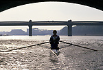 Colin Moynihan, British Shadow Sports Minister, rowing canoe on river. 1990s or 1980s.