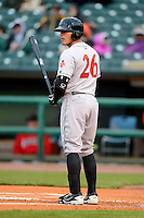 Indianapolis Indians catcher Tony Sanchez #26 during a game against the Louisville Bats on April 19, 2013 at Louisville Slugger Field in Louisville, Kentucky.  Indianapolis defeated Louisville 4-1.  (Mike Janes/Four Seam Images)