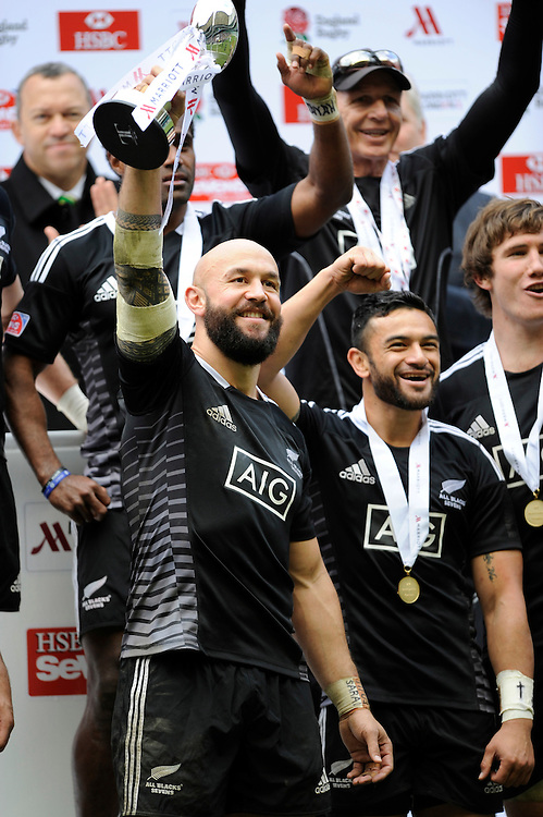 D J Forbes of New Zealand lifts the Marriott London Sevens trophy during Day Two of the iRB Marriott London Sevens at Twickenham on Sunday 11th May 2014 (Photo by Rob Munro)