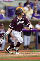 Texas A&M Aggies outfielder Nick Banks (4) follows through on his swing during the Southeastern Conference baseball game against the LSU Tigers on April 25, 2015 at Alex Box Stadium in Baton Rouge, Louisiana. Texas A&M defeated LSU 6-2. (Andrew Woolley/Four Seam Images)