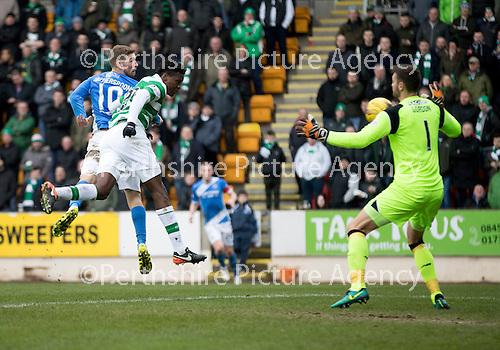 St Johnstone v Celtic…05.02.17     SPFL    McDiarmid Park<br />Daviod Wotherspoon scores saints second goal<br />Picture by Graeme Hart.<br />Copyright Perthshire Picture Agency<br />Tel: 01738 623350  Mobile: 07990 594431