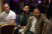 Pictured L-R: Lee Trundle, Kyle Bartley and Ashley Williams Thursday 08 April 2016<br />Re: Zimkids dinner at the Liberty Stadium, Swansea, UK