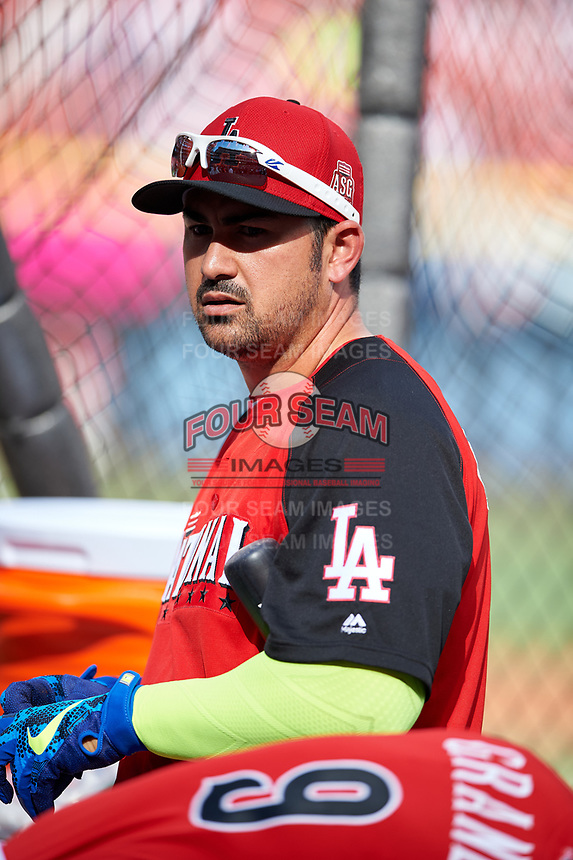 Los Angeles Dodgers Adrian Gonzalez during practice before the MLB All-Star Game on July 14, 2015 at Great American Ball Park in Cincinnati, Ohio.  (Mike Janes/Four Seam Images)