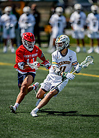 1 May 2021: University of Vermont Catamount Midfielder Sal Iaria, a Junior from Bainbridge Island, WA, in action against the Stony Brook University Seawolves at Virtue Field in Burlington, Vermont. The Cats edged out the Seawolves 14-13 with less than one second to play in their America East Men's Lacrosse matchup. Mandatory Credit: Ed Wolfstein Photo *** RAW (NEF) Image File Available ***