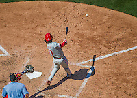 24 May 2015: Philadelphia Phillies outfielder Odubel Herrera singles in the 7th inning against the Washington Nationals at Nationals Park in Washington, DC. The Nationals defeated the Phillies 4-1 to take the rubber game of their 3-game weekend series. Mandatory Credit: Ed Wolfstein Photo *** RAW (NEF) Image File Available ***