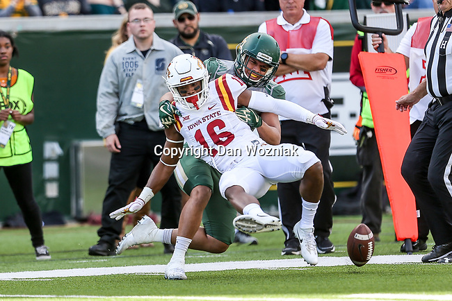 Iowa State Cyclones wide receiver Marchie Murdock (16) in action during the game between the Iowa State Cyclones and the Baylor Bears at the McLane Stadium in Waco, Texas.