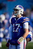 Buffalo Bills quarterback Josh Allen (17) during pre-game warmups before an NFL football game against the New York Jets, Sunday, December 9, 2018, in Orchard Park, N.Y.  (Mike Janes Photography)