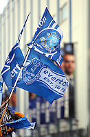 Liverpool, UK. Saturday 01 November 2014<br /> Pictured: Banners with images of Everton manager Roberto Martinez and his players outside Goodison Park.<br /> Re: Premier League Everton v Swansea City FC at Goodison Park, Liverpool, Merseyside, UK.