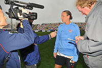 Abby Wambach discusses the game with the media. The USA defeated Norway 2-1 at Olhao Stadium on February 26, 2010 at the Algarve Cup.