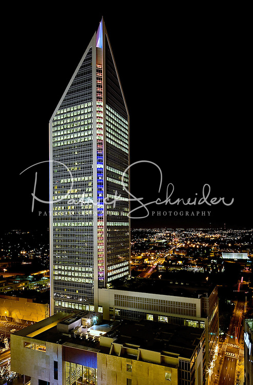The Duke Energy Headquarters at night in downtown Charlotte