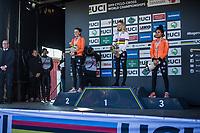 Women U23 race podium:<br /> <br /> 1. Inge Van der Heijden (NED)<br /> 2. Ceylin Del Carmen Alvarado (NED)<br /> 3. Fleur Nagengast (NED)<br /> <br /> UCI 2019 Cyclocross World Championships<br /> Bogense / Denmark<br /> <br /> <br /> ©kramon