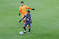 ST PAUL, MN - OCTOBER 18: Jacori Hayes #5 of Minnesota United FC passes the ball during a game between Houston Dynamo and Minnesota United FC at Allianz Field on October 18, 2020 in St Paul, Minnesota.