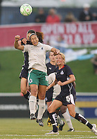 Homare Sawa #10 of the Washington Freedom loses out to a header by Daniela #10 of St. Louis Athletica during a WPS match at the Maryland Soccerplex on May 3, 2009 in Boyds Maryland. The game ended in a 3-3 tie.