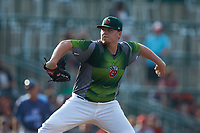 Fort Wayne TinCaps starting pitcher Ryan Weathers (25) in action against the West Michigan Whitecaps at Parkview Field on August 5, 2019 in Fort Wayne, Indiana. The TinCaps defeated the Whitecaps 9-3. (Brian Westerholt/Four Seam Images)