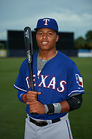 Leugim Castillo (12) of Lancaster Central High School in Lancaster, New York playing for the Texas Rangers scout team during the East Coast Pro Showcase on July 28, 2015 at George M. Steinbrenner Field in Tampa, Florida.  (Mike Janes/Four Seam Images)