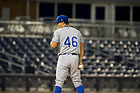 AZL Royals starting pitcher Andres Sotillet (46) looks to his catcher for the sign against the AZL Mariners on July 29, 2017 at Peoria Stadium in Peoria, Arizona. AZL Royals defeated the AZL Mariners 11-4. (Zachary Lucy/Four Seam Images)
