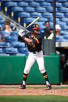 Maryland Terrapins third baseman AJ Lee (6) at bat during a game against the Alabama State Hornets on February 19, 2017 at Spectrum Field in Clearwater, Florida.  Maryland defeated Alabama State 9-7.  (Mike Janes/Four Seam Images)