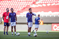 ZAPOPAN, MEXICO - MARCH 21: Andres Perea #15 and Jesus Ferreira #9 of the United States warming up before a game between Dominican Republic and USMNT U-23 at Estadio Akron on March 21, 2021 in Zapopan, Mexico.