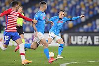 Piotr Zielinski of SSC Napoli scores the goal of 1-0 during the Europa League round of 32, 2nd leg football match between SSC Napoli and Granada CF at Diego Armando Maradona stadium in Napoli (Italy), February 25, 2021.<br /> Photo Cesare Purini / Insidefoto