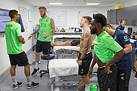 Pictured L-R: Kyle Naughton, Oli McBurnie, Barie McKay and Nathan Dyer chat in the physio treatment room.  Thursday 27 June 2019<br /> Re: Swansea City FC players report for training at Fairwood training ground, UK