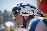 Thomas De Gendt (BEL) waiting before his ITT start<br /> <br /> Tour de France 2013<br /> stage 11: iTT Avranches - Mont Saint-Michel <br /> 33km