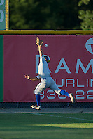Bluefield Blue Jays left fielder Nick Sinay (6) can't catch this fly ball during the game against the Burlington Royals at Burlington Athletic Stadium on June 26, 2016 in Burlington, North Carolina.  The Blue Jays defeated the Royals 4-3.  (Brian Westerholt/Four Seam Images)