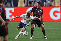 6th June 2021. Denver, Colorado, USA;  United States forward Christian Pulisic heavy challenge from Mexico defender Luis Romo  during the CONCACAF Nations League finals between Mexico and the United States  at Empower Field at Mile High in Denver, CO.