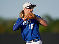 IMG Academy Ascenders shortstop Jackson Werth (16) throws to first base during a game against the Montverde Academy Eagles on April 8, 2021 at IMG Academy in Bradenton, Florida.  (Mike Janes/Four Seam Images)