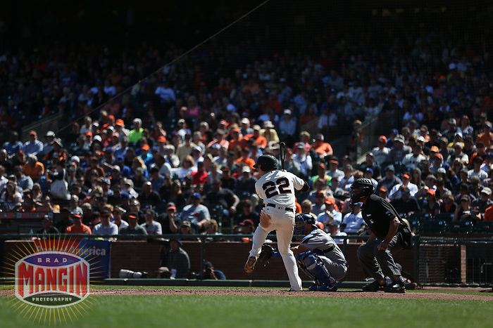 SAN FRANCISCO, CA - APRIL 27:  Christian Arroyo #22 of the San Francisco Giants bats against the Los Angeles Dodgers during the game at AT&T Park on Thursday, April 27, 2017 in San Francisco, California. (Photo by Brad Mangin)