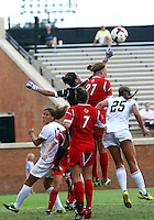 WINSTON-SALEM, NORTH CAROLINA - September 01, 2013:<br /> Paige Brown (1) of Louisville University punches clear against Wake Forest University during a match at the Wake Forest Invitational tournament at Wake Forest University on September 01. The match was abandoned early in the second half due to severe weather with Wake leading 1-0.