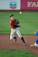 Offerman Collado (1) of the Idaho Falls Chukars makes the throw to first base to start the double play against the Ogden Raptors at Lindquist Field on August 28, 2017 in Ogden, Utah. Ogden defeated Idaho Falls 7-1. (Stephen Smith/Four Seam Images)