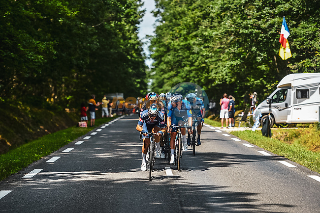 Petr Vakoc (CZE) and Kristian Sbaragli (ITA) Alpecin-Fenix with Tim Declercq (BEL) Deceuninck-Quick Step on the front of the peloton during Stage 6 of the 2021 Tour de France, running 160.6km from Tours to Chateauroux, France. 1st July 2021.  <br /> Picture: A.S.O./Charly Lopez   Cyclefile<br /> <br /> All photos usage must carry mandatory copyright credit (© Cyclefile   A.S.O./Charly Lopez)