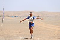 8th October 2021; Boulchrhal to Sud Jebel Irhfelt N'Tissalt ;  Marathon des Sables, stage 5 and final stage of  a six-day, 251 km ultramarathon, which is approximately the distance of six regular marathons. The longest single stage is 91 km long. This multiday race is held every year in southern Morocco, in the Sahara Desert. Rachid El Morabity wins the Marathon des Sables