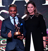 BOGOTÁ-COLOMBIA, 03-12-2019: Francisco Mosquera, levantamiento de Pesas, fue nombrado deportista Altius de Bronce del Año 2019, por el Comité Olímpico Colombiano (COC), en ceremonia realizada en el Hotel Grand Hyatt en la ciudad de Bogotá. / Francisco Mosquera, in weightlifting, was named the sportsman Silver Altius of the 2019, by the Colombian Olympic Committee (COC), in a ceremony held in the Grand Hyatt Hotel, in the city of Bogota. / Photo: VizzorImage /Luis Ramírez / Staff.