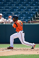 Bowie Baysox Cedric Mullins (2) bats during an Eastern League game against the Binghamton Rumble Ponies on August 21, 2019 at Prince George's Stadium in Bowie, Maryland.  Bowie defeated Binghamton 7-6 in ten innings.  (Mike Janes/Four Seam Images)