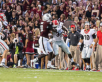Columbia, SC. - Saturday, September 13, 2014: The number 24 ranked USC Gamecocks beat the number 6 ranked Georgia Bulldogs 38-35 in a game at Williams-Brice Stadium.