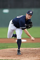 Empire State Yankees starting pitcher David Robertson #30, on rehab assignment, delivers a pitch during a game against the Louisville Bats at Dwyer Stadium on June 12, 2012 in Batavia, New York.  Empire State defeated Louisville 9-7.  (Mike Janes/Four Seam Images)